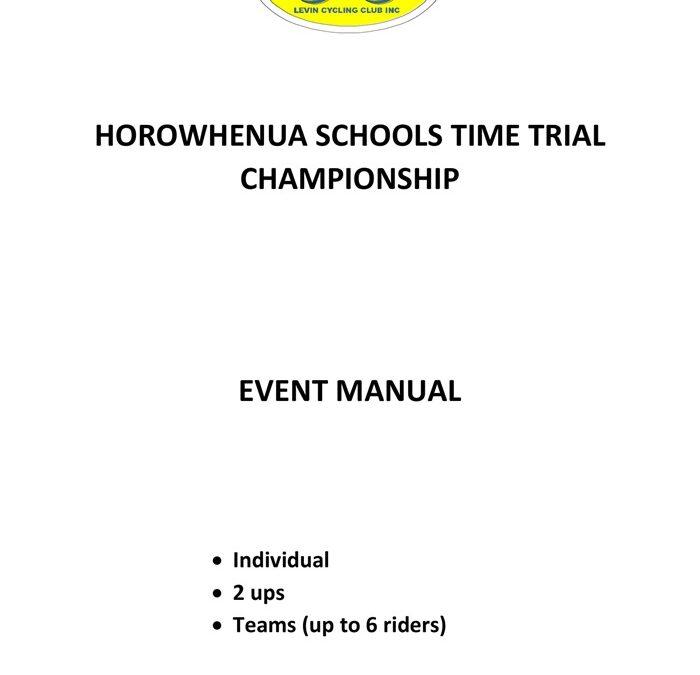 Horowhenua Schools TT Champs Event Manual 9 Sept 2018 Handbook