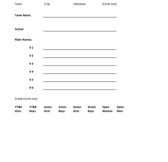 Horowhenua Schools TT Champs Event Entry Form 09 Sept 2018